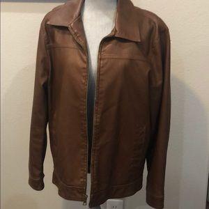 Men's Bass brand faux leather zip front jacket